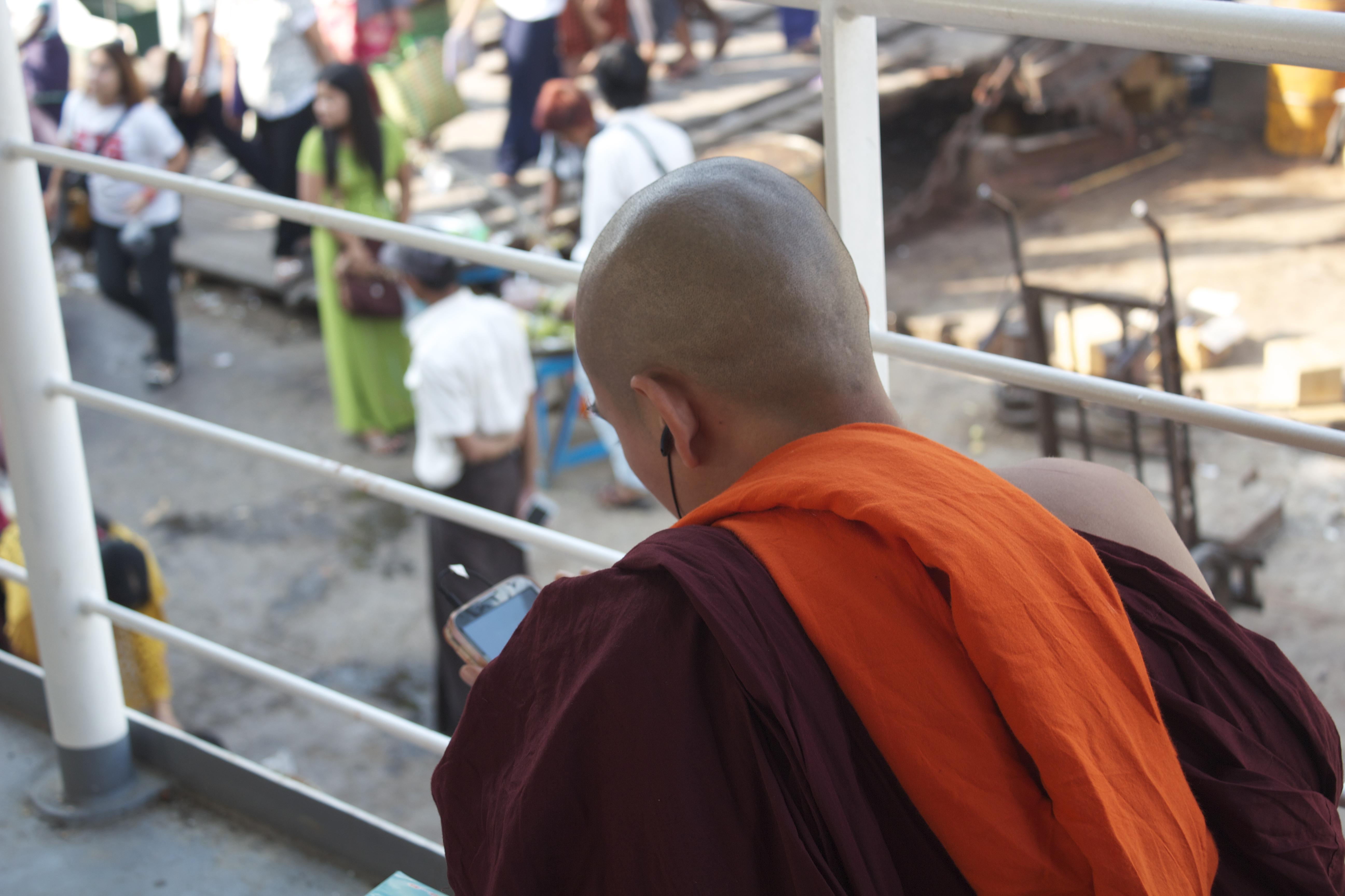 21st century monk  on the ferry